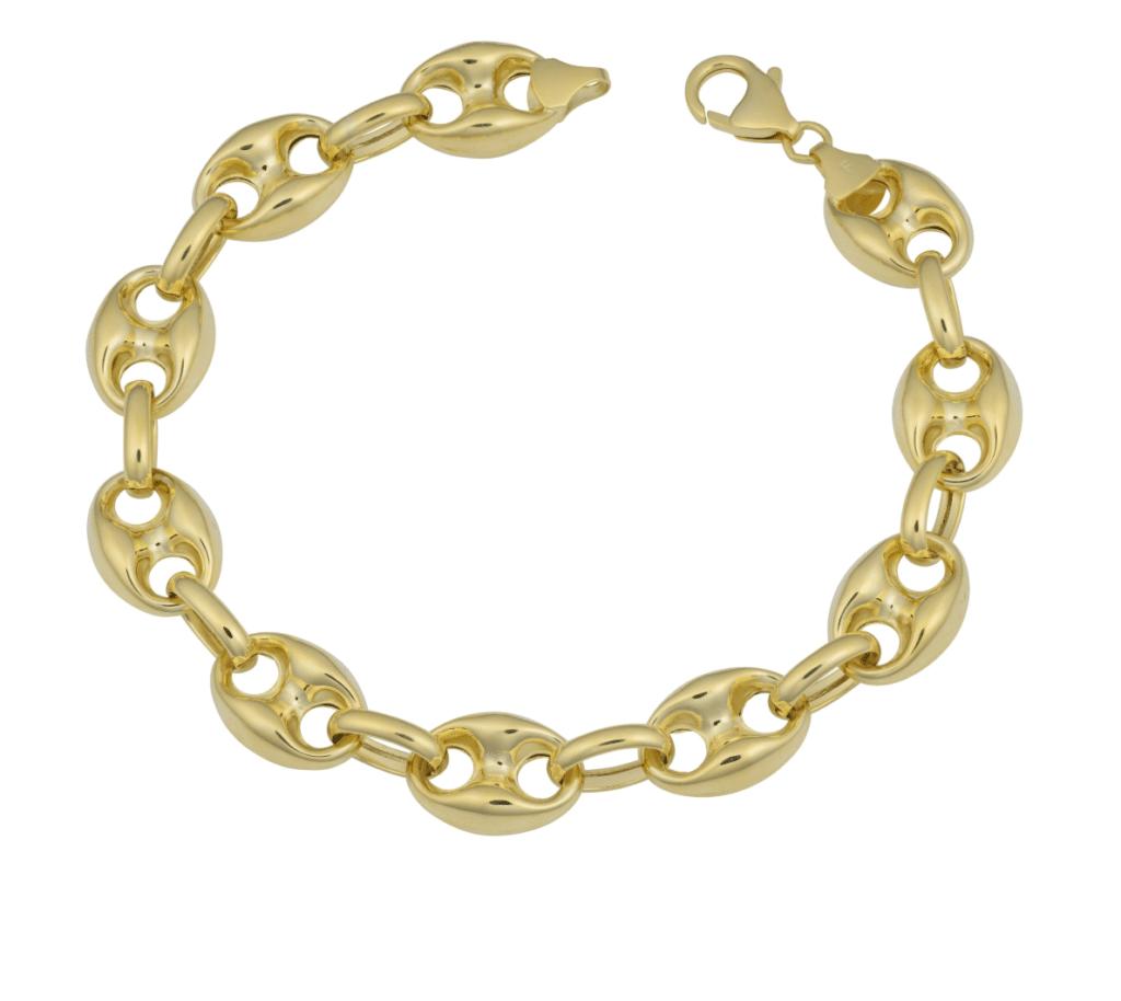 14K Yellow Gold Men's Puff Gucci Link Bracelet Semi Solid Hollow Bracelet MM