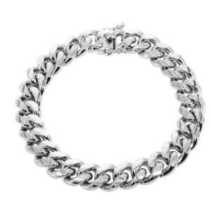 14K White Gold Miami Cuban Link Bracelet MM Box Lock Locked