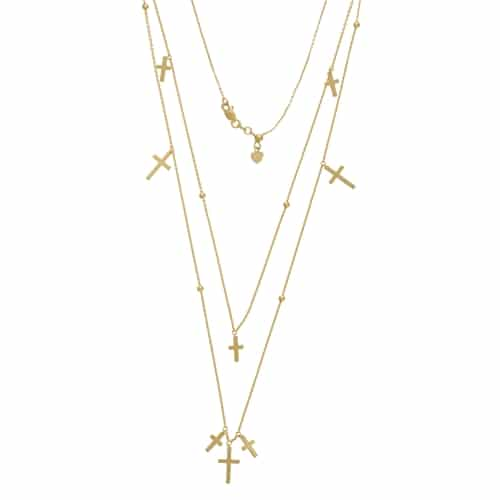 14KT Gold Layered Hanging Cross Duet Necklace