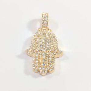 14KT Hamsa Pave Diamond Pendant