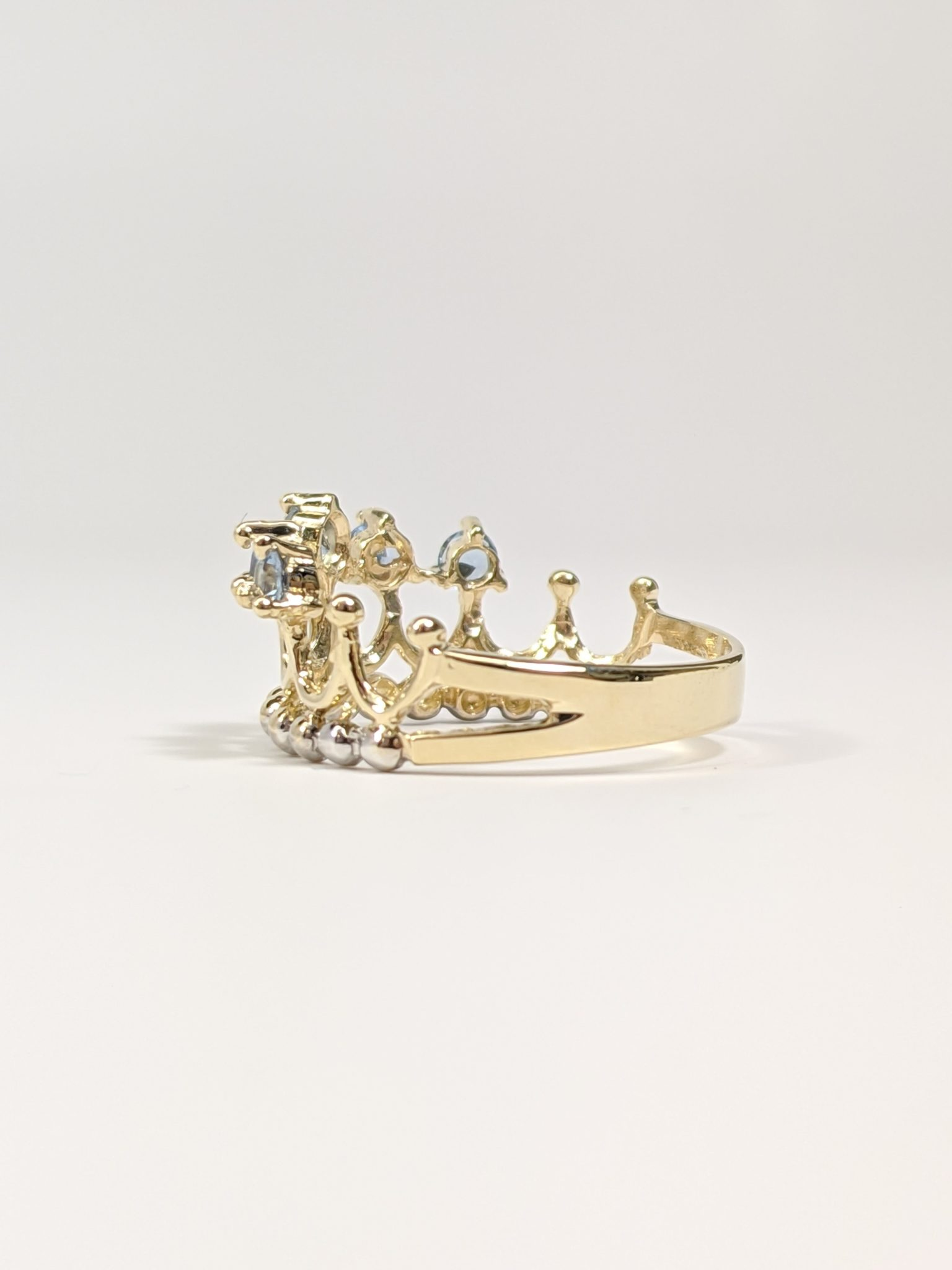 14KT Two-Tone 15's Crown Ring Side View