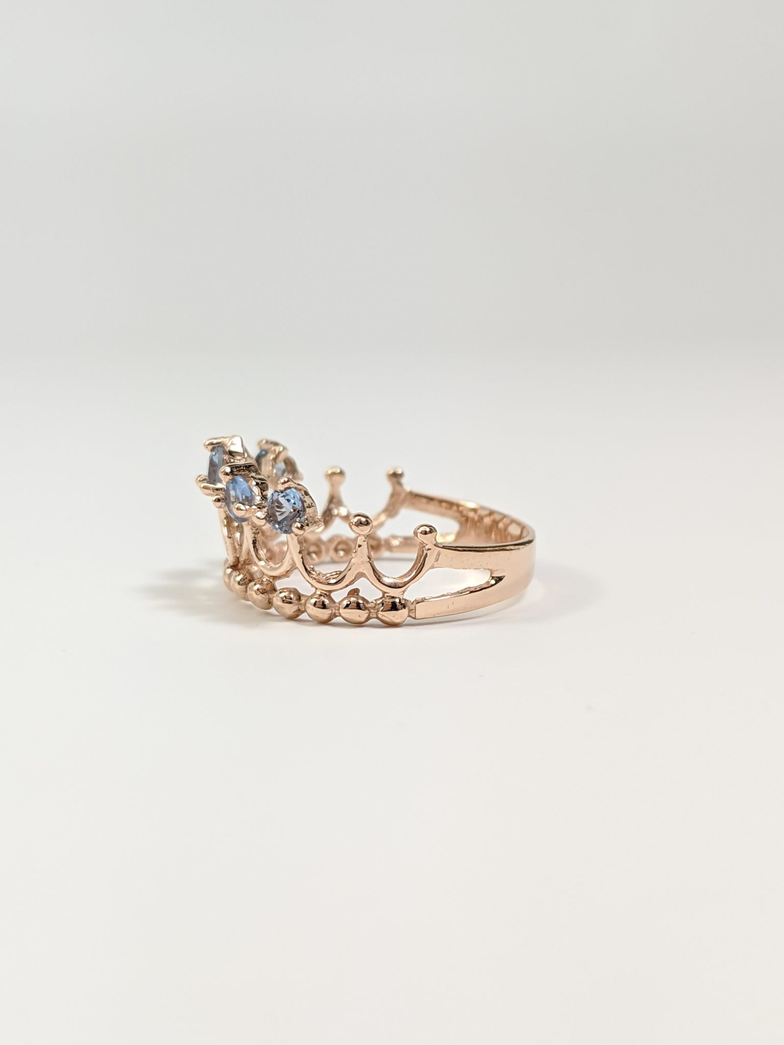 14KT Rose Gold 15's Crown Ring Side View