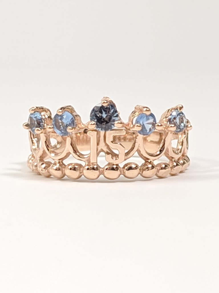 14KT Rose Gold 15's Crown Ring
