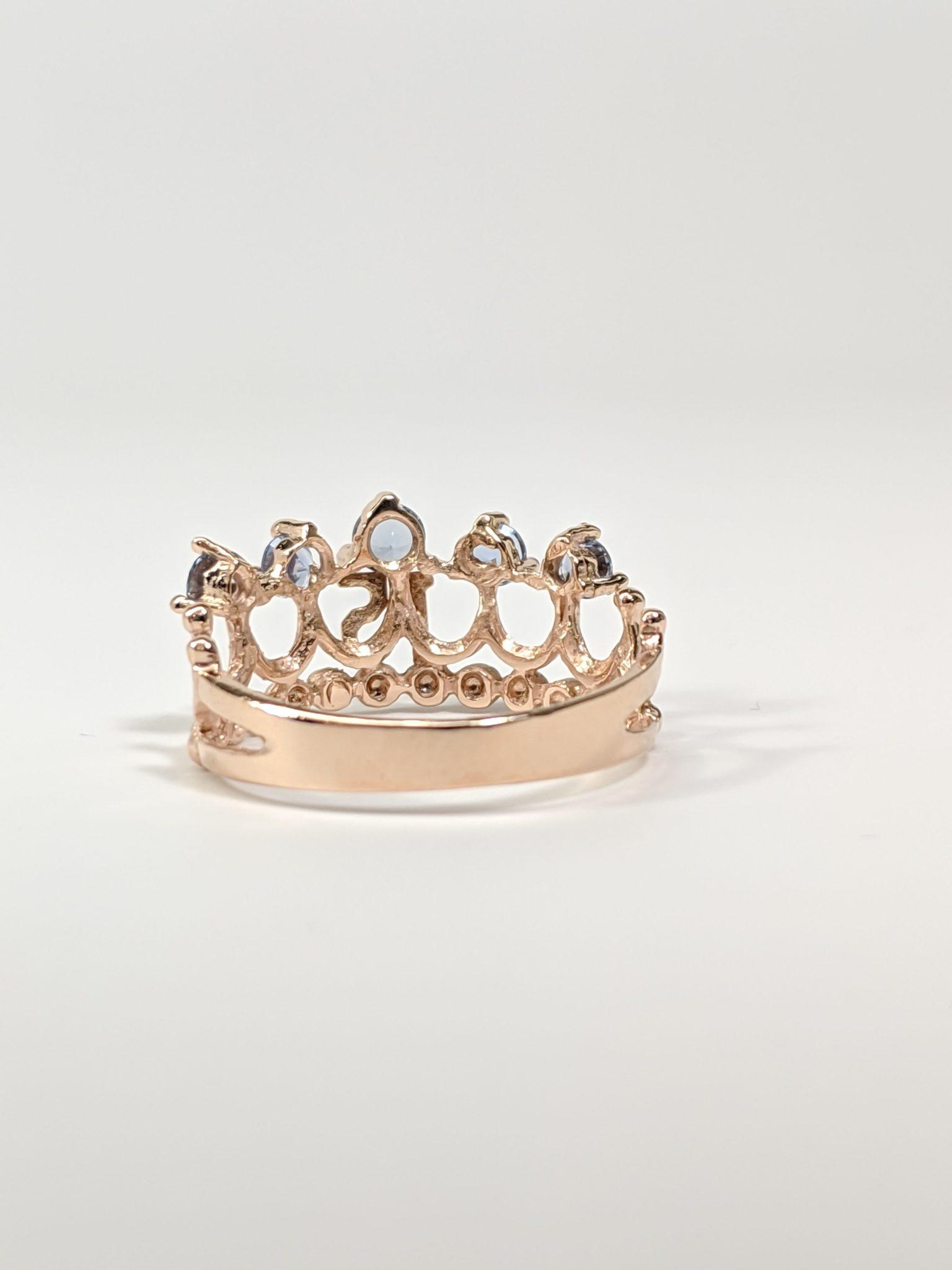 14KT Rose Gold 15's Crown Ring Back Side