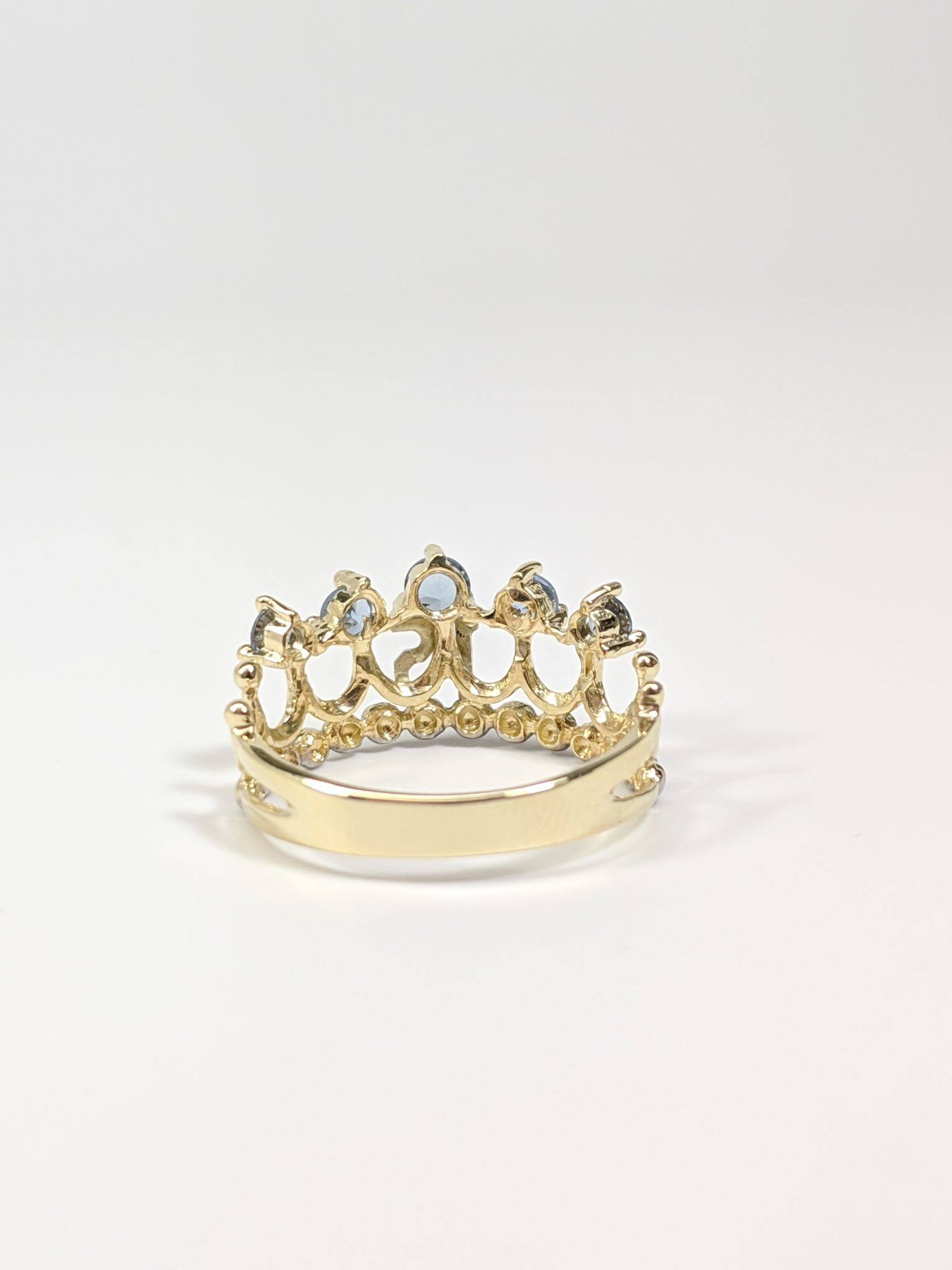 14KT Two-Tone 15's Crown Ring Back Side