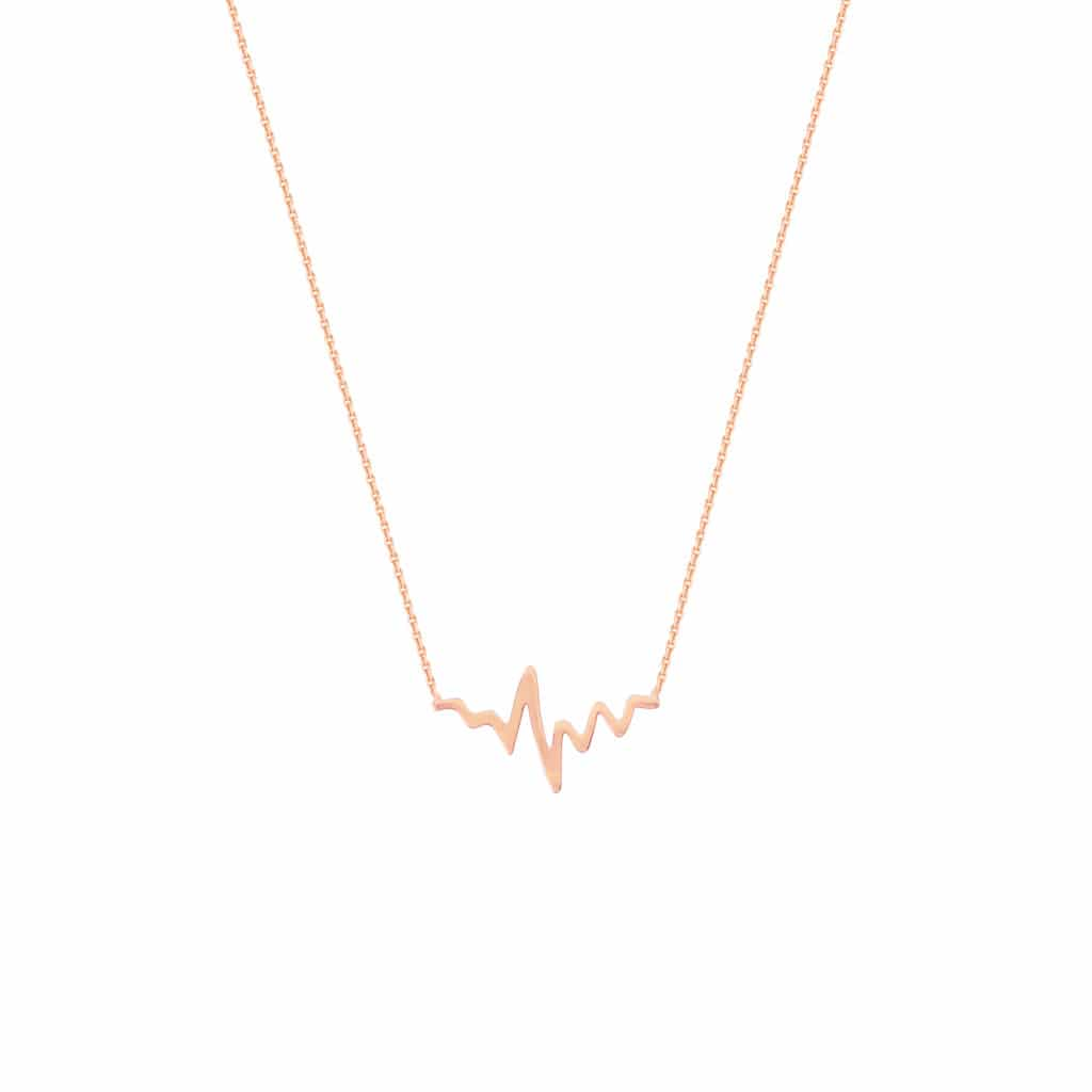 14K Rose Gold Heart Beat Necklace Set Available Lengths 16