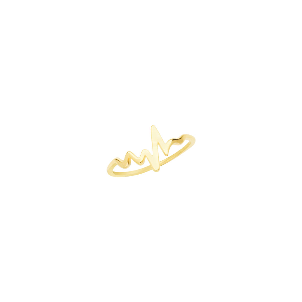 Ladies 14K Yellow Gold Heartbeat Ring Stackable
