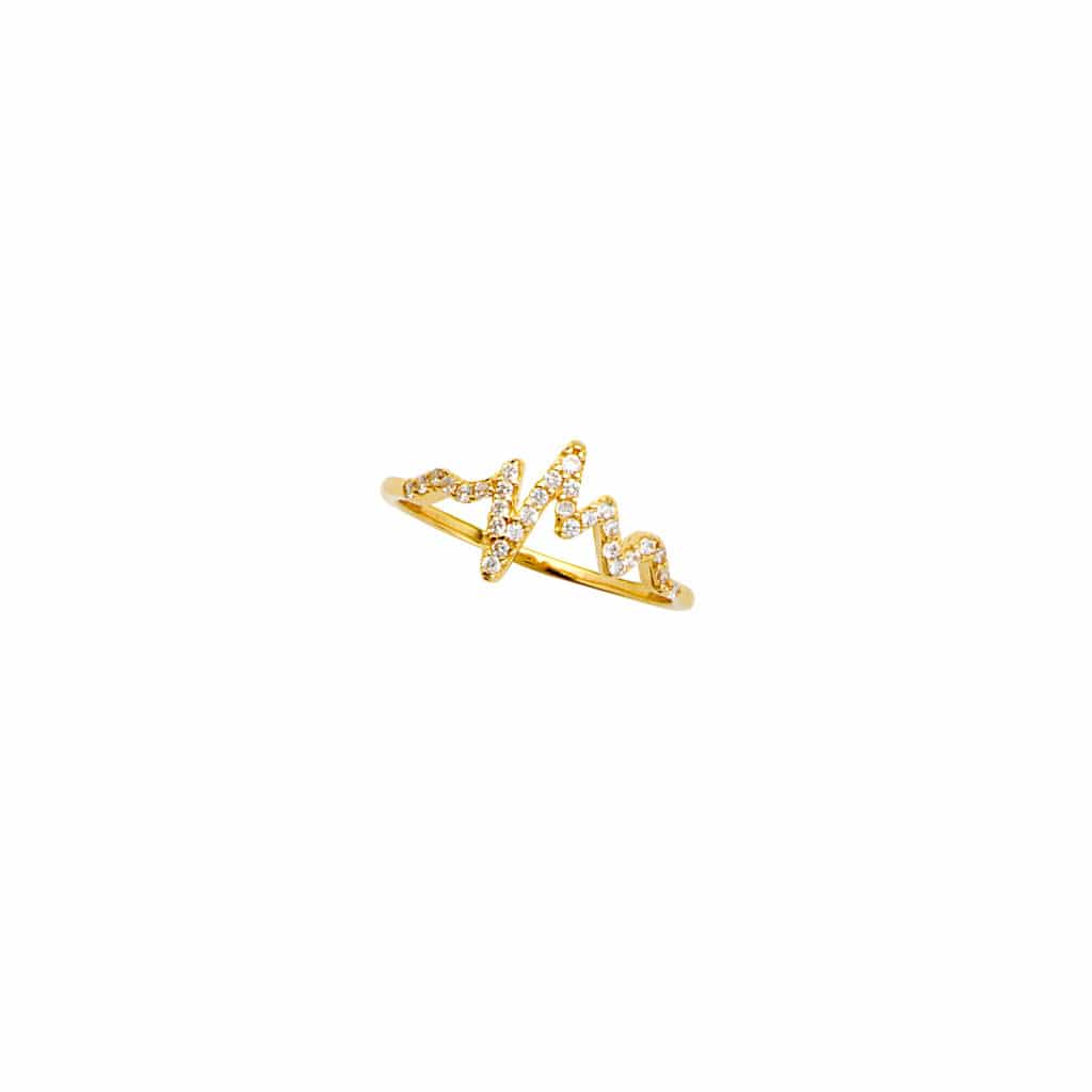 Ladies 14K Yellow Gold Heartbeat Ring Pave set with Diamonds Stackable