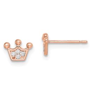 Designer Madi K. 14KT Rose Gold Crown Stud Earrings