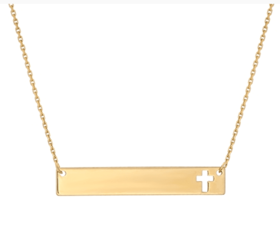 14KT Yellow Gold Bar Plate with Cross
