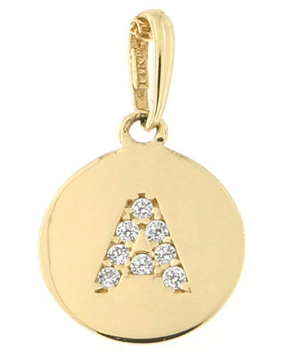 14KT Yellow Gold Round Disk Initial Charm Pendant Cubic Zirconia Letter