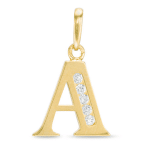 "14KT Yellow Gold Initial Charm Pendant Cubic Zirconia Letter ""A"""