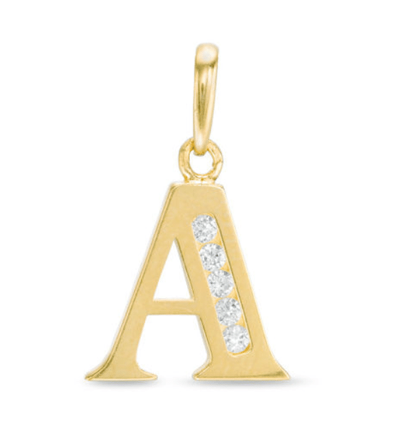 14KT Yellow Gold Initial Charm Pendant Cubic Zirconia Letter