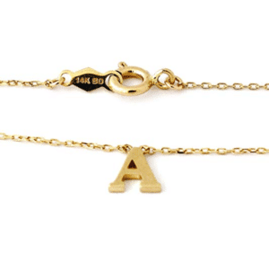 "14KT Yellow Gold Simple Initial Letter Set ""A"" With Cable/Rolo Chain 16"" Spring Lock"
