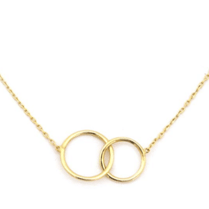 "14KT Yellow Gold Delicate Interlocking Rings Necklace 16""-18"""