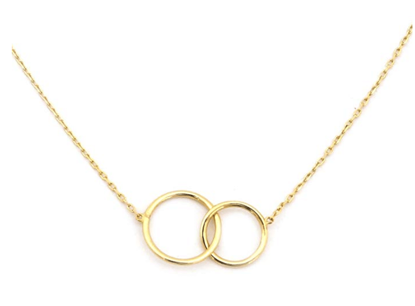 14KT Yellow Gold Delicate Interlocking Rings Necklace 16