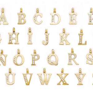14KT Yellow Gold Initial Charm Pendants A, B, C, D, E, F, G, H, I, J, K, L, M, N, O, P, Q, R, S, T, U, V, W, X, Y, Z