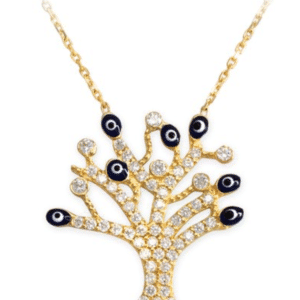 14KT Yellow GOLD EVIL EYE Cubic Zirconia PAVE TREE OF LIFE ADJUSTABLE NECKLACE