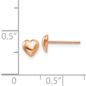 14K Rose Gold High Polished Heart Stud Earrings with Push Backs Scale View