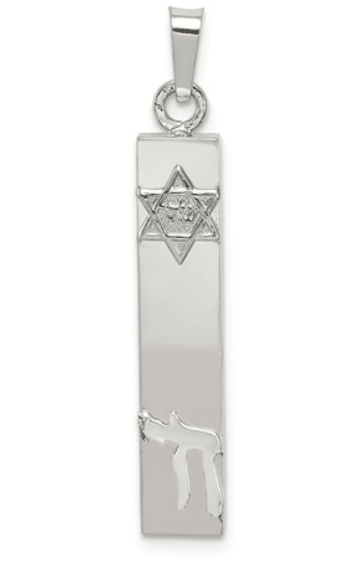 Sterling Silver 925 Mezuzah With Star of David And Chai Pendant