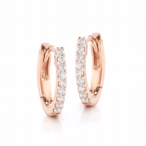 14K Rose Gold Small Diamond Huggie
