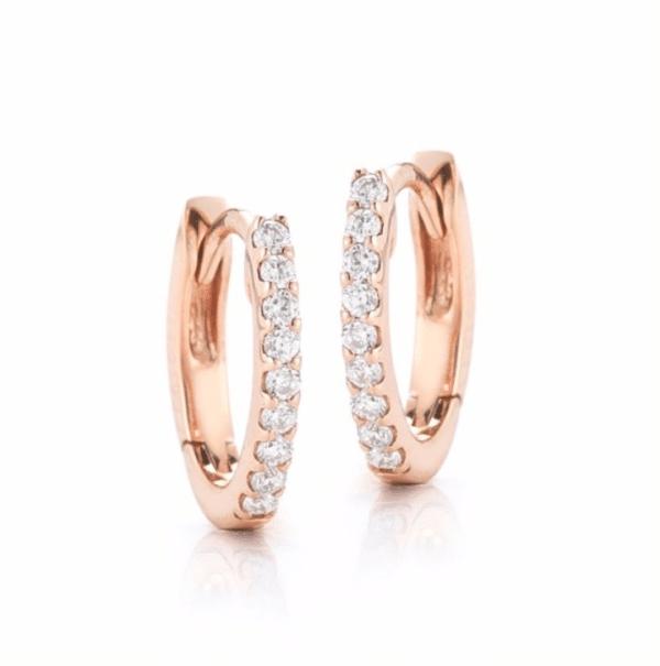 24301594be42d 14K Rose Gold Small Diamond Huggie Earrings