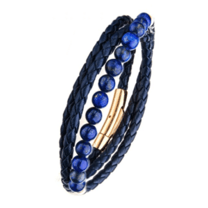 Blue Leather Wrapped Lapis Bead Bracelet Rose Gold Plated Side View