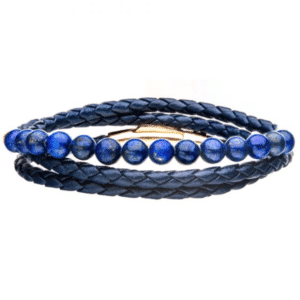 Blue Leather Wrapped Lapis Bead Bracelet Rose Gold Plated