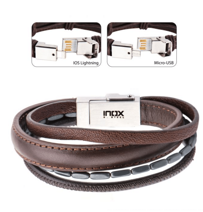 Men's Brown Leather with Black Hematite Android/IOS USB Charger/Charging Bracelet