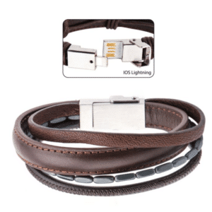 Men's Brown Leather with Black Hematite Android/IOS USB Charger/Charging Bracelet Clasp
