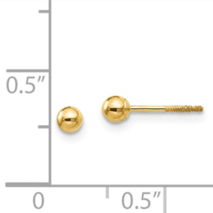 14K Yellow Gold 3mm Ball Stud Earrings Screw Back Scale View Dormilona Aretes Dorado