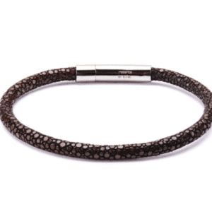 Inox Brown Stingray Leather Stainless Steel Bracelet