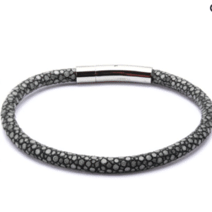 Inox Grey Stingray Leather Stainless Steel Bracelet