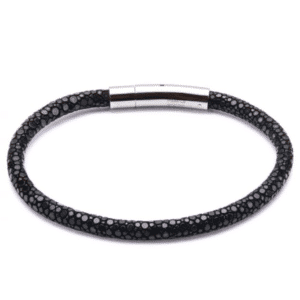Inox Black Stingray Leather Stainless Steel Bracelet