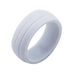 Men's Silicone Wedding Band White Safety Bands for Active Lifestyles in Platim by Inox
