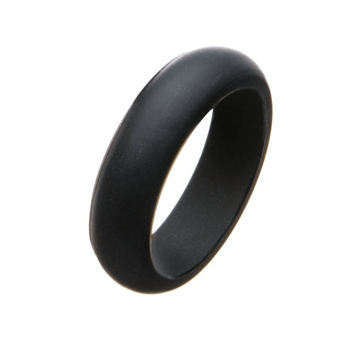 Women's Silicone Wedding Band Black Safety Bands for Active Lifestyles in Platim by Inox