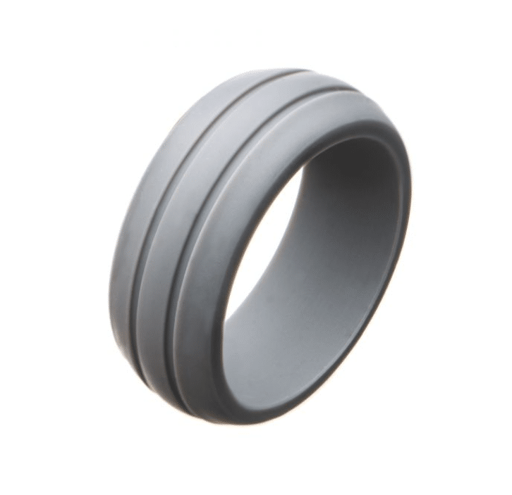 Men's Silicone Wedding Band Grey Safety Bands for Active Lifestyles in Platim by Inox