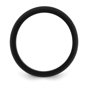 Black Silicone Wedding Band Ring 5.7mm Sizes available 5, 6, 7, 8, 9, 10 Side View