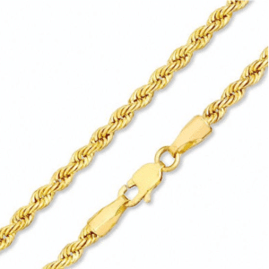 Solid 14K Yellow Gold Rope Chain
