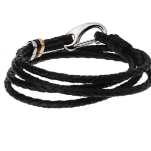 Inox Trice Braided Wrap Black Leather Bracelet with Stainless Steel Clasp Rose Gold Black Ion Plated