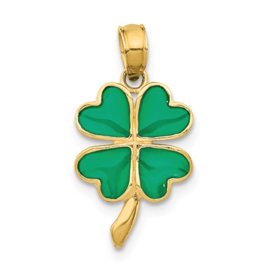 Petite 14K Yellow Gold 4-Leaf Clover Green Enameled Shamrock Pendant