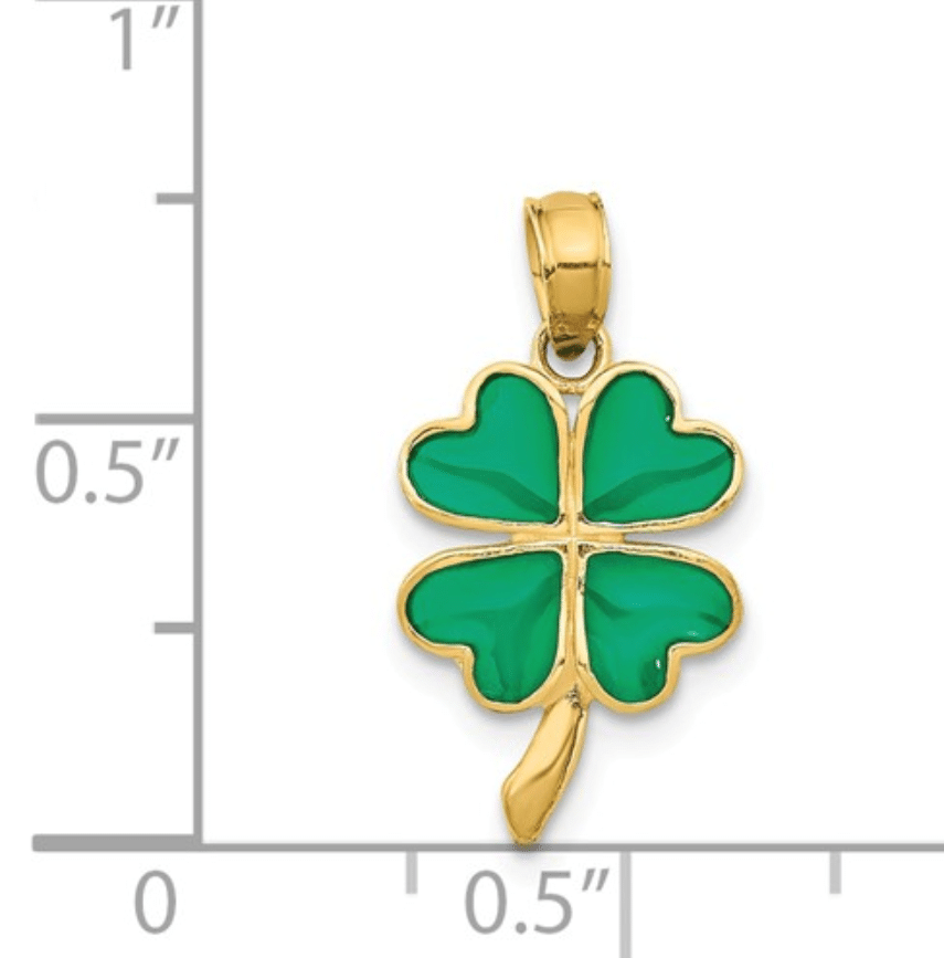 Petite 14K Yellow Gold 4-Leaf Clover Green Enameled Shamrock Pendant Scale View