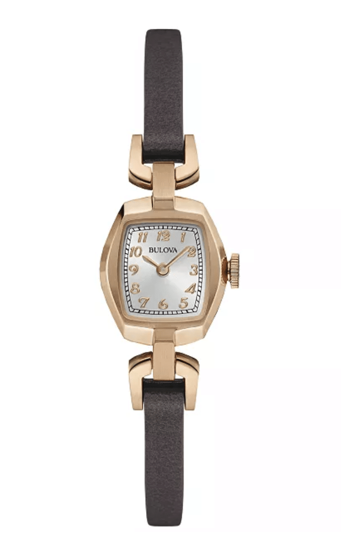 Ladies Women's Bulova 97L154 Rose Gold Plated Dark Brown Leather Strap Watch 18mm Front View