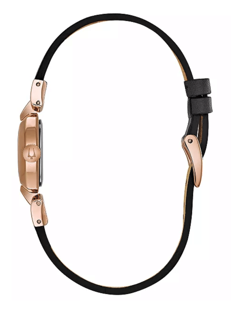 Ladies Women's Bulova 97L154 Rose Gold Plated Dark Brown Leather Strap Watch 18mm Side View
