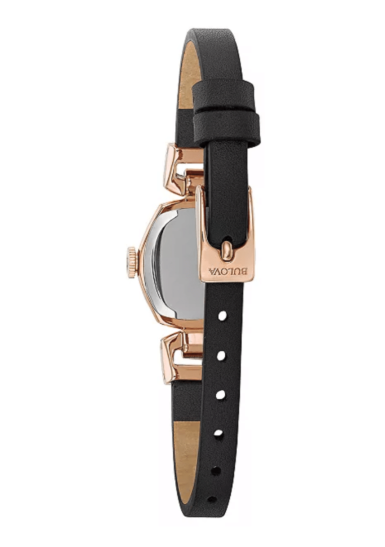 Ladies Women's Bulova 97L154 Rose Gold Plated Dark Brown Leather Strap Watch 18mm Back View