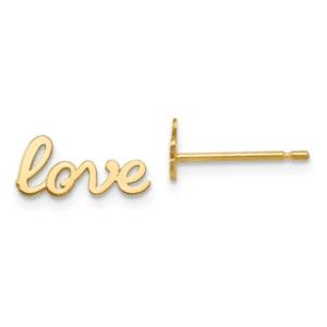 14K Yellow Gold Script High Polished Love Stud Earrings