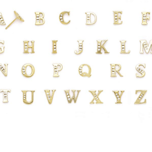 14K Yellow Gold Cubic Zirconia Initial Stud Earrings Letter a, b, c, d, e, f, g, h, i, j, k, l, m, n, o, p, q, r, s, t, u, v, w, x, y, z