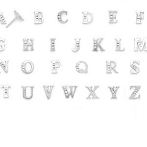 14K White Gold Cubic Zirconia Initial Stud Earrings Letter a, b, c, d, e, f, g, h, i, j, k, l, m, n, o, p, q, r, s, t, u, v, w, x, y, z