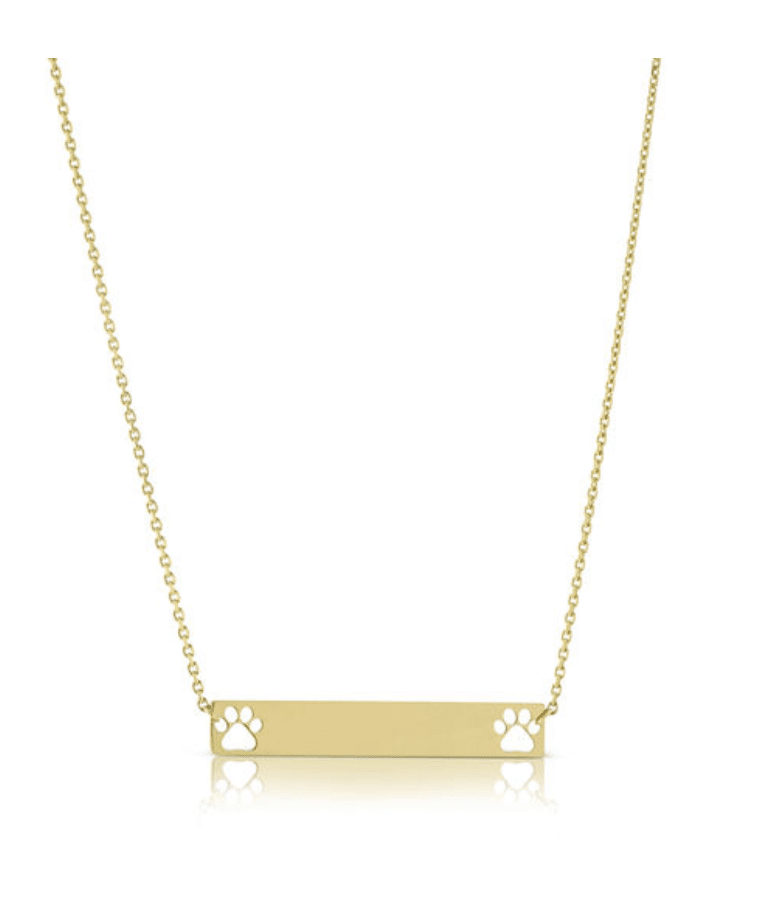 14KT Yellow gold double dog, cat, pet paw print bar necklace for the doggy lover in your life