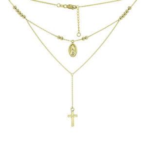 """14K Yellow Gold Stackable Rosary Necklace Adjustable 16""""-18"""""""